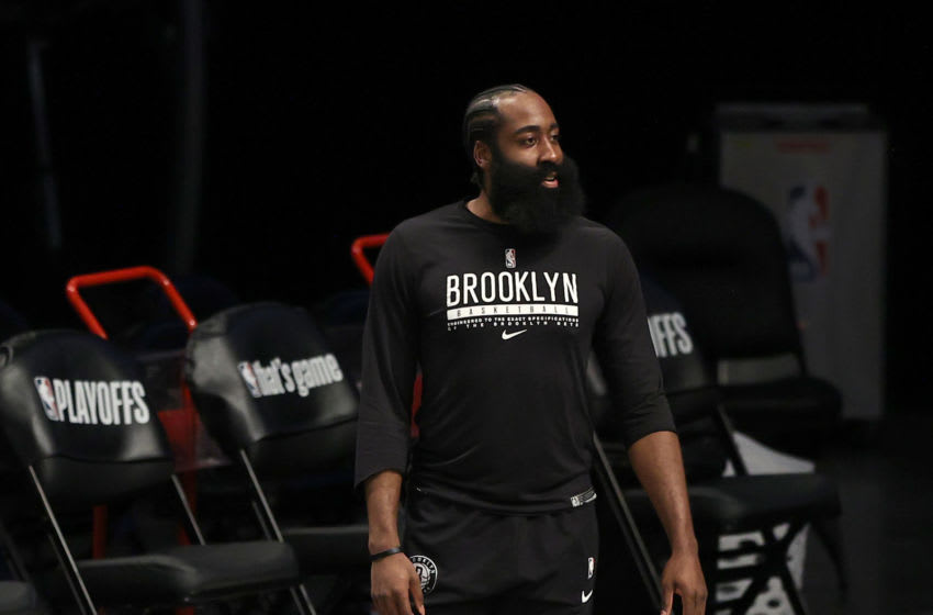 NEW YORK, NEW YORK - JUNE 15: James Harden of the Brooklyn Nets warms up before game 5 of the Eastern Conference second round against the Milwaukee Bucks at Barclays Center on June 15, 2021 in the Brooklyn borough of New York City. NOTE TO USER: User expressly acknowledges and agrees that, by downloading and or using this photograph, User is consenting to the terms and conditions of the Getty Images License Agreement. (Photo by Elsa/Getty Images)