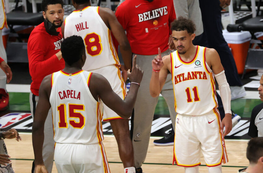 MILWAUKEE, WISCONSIN - JUNE 23: Trae Young #11 of the Atlanta Hawks celebrates a win against the Milwaukee Bucks in game one of the Eastern Conference Finals at Fiserv Forum on June 23, 2021 in Milwaukee, Wisconsin. (Photo by Stacy Revere/Getty Images)