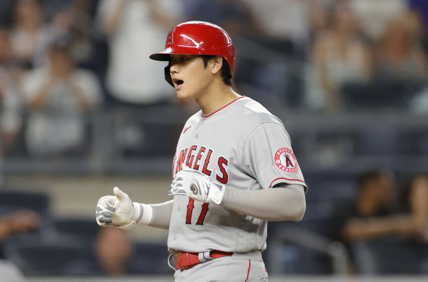 NEW YORK, NEW YORK - JUNE 29: Shohei Ohtani #17 of the Los Angeles Angels reacts after hitting a two-run home run during the fifth inning against the New York Yankees at Yankee Stadium on June 29, 2021 in the Bronx borough of New York City. (Photo by Sarah Stier/Getty Images)