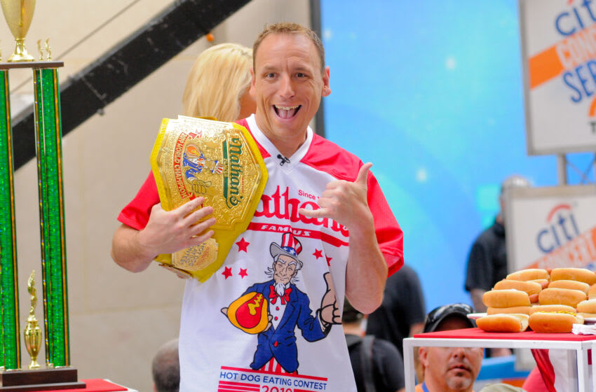 TODAY SHOW PLAZA, NEW YORK CITY, NY, UNITED STATES - 2019/07/05: Competitive Eater, Joey Chestnut seen during Country Music Star, Toby Keith's performance in New York City on NBC's Today Show. (Photo by Efren Landaos/SOPA Images/LightRocket via Getty Images)