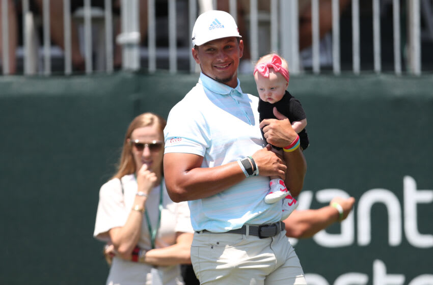 SOUTH LAKE TAHOE, NEVADA - JULY 10: NFL athlete Patrick Mahomes holds his daughter on the 17th hole during round two of the American Century Championship at Edgewood Tahoe South golf course on July 10, 2020 in South Lake Tahoe, Nevada. (Photo by Jed Jacobsohn/Getty Images)