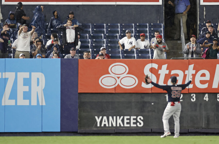 NEW YORK, NY - JULY 17: Alex Verdugo #99 of the Boston Red Sox gestures towards the stands during the sixth inning of the game against the New York Yankees at Yankee Stadium on July 17, 2021 in the Bronx borough of New York City. (Photo by Adam Hunger/Getty Images)