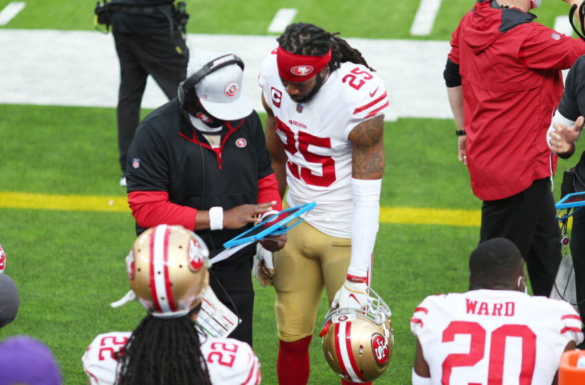 INGLEWOOD, CALIFORNIA - NOVEMBER 29: Richard Sherman #25 of the San Francisco 49ers speaks to a teammate on the bench in the second quarter against the Los Angeles Rams at SoFi Stadium on November 29, 2020 in Inglewood, California. (Photo by Joe Scarnici/Getty Images)