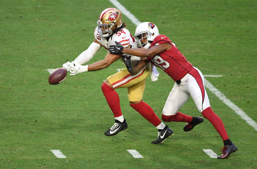 GLENDALE, ARIZONA - DECEMBER 26: Linebacker Fred Warner #54 of the San Francisco 49ers breaks up a pass to wide receiver KeeSean Johnson #19 of the Arizona Cardinals during the second half at State Farm Stadium on December 26, 2020 in Glendale, Arizona. (Photo by Norm Hall/Getty Images)