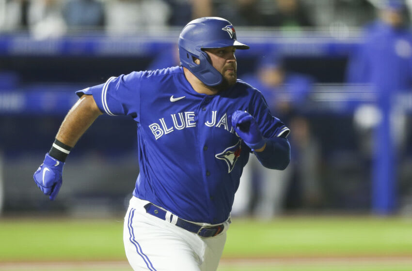 BUFFALO, NEW YORK - JUNE 16: Rowdy Tellez #44 of the Toronto Blue Jays runs to first as he grounds out during the eighth inning against the New York Yankees at Sahlen Field on June 16, 2021 in Buffalo, New York. (Photo by Joshua Bessex/Getty Images)