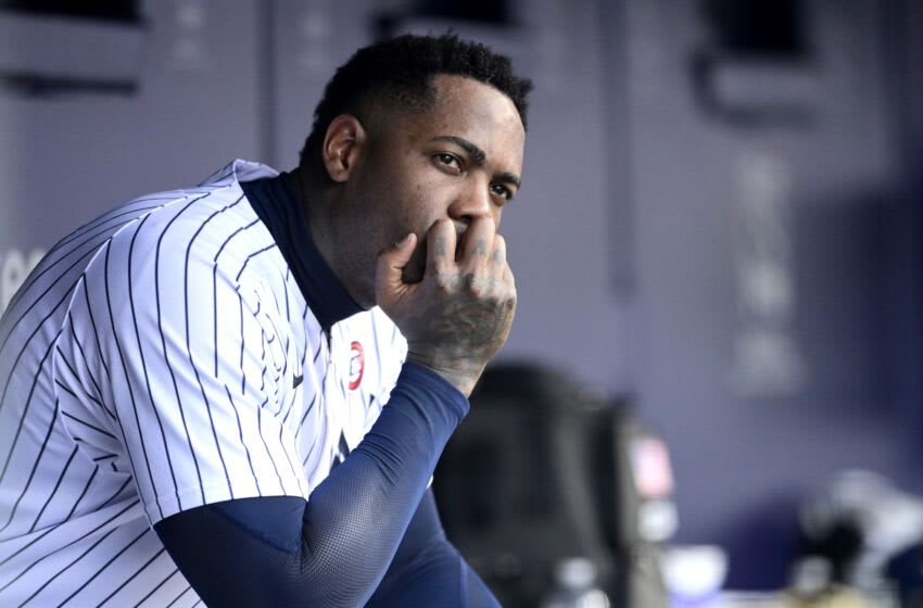 NEW YORK, NEW YORK - JULY 04: Aroldis Chapman #54 of the New York Yankees reacts after he is taken out of the game against the New York Mets during game one of a doubleheader at Yankee Stadium on July 04, 2021 in the Bronx borough of New York City. (Photo by Steven Ryan/Getty Images)