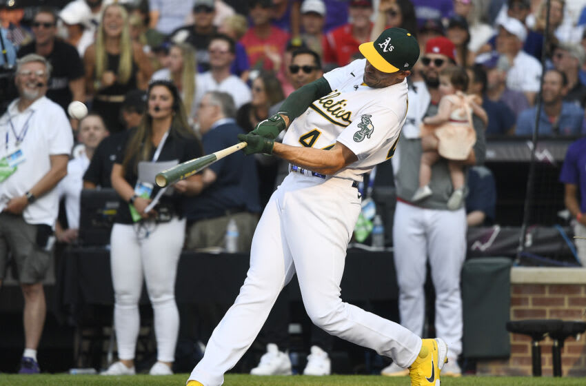 DENVER, COLORADO - JULY 12: Matt Olson #28 of the Oakland Athletics looks on during the 2021 T-Mobile Home Run Derby at Coors Field on July 12, 2021 in Denver, Colorado. (Photo by Dustin Bradford/Getty Images)
