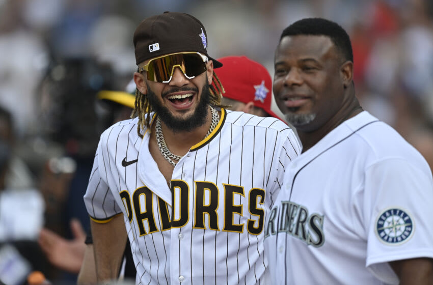 DENVER, COLORADO - JULY 12: Fernando Tatis Jr. #23 of the San Diego Padres speaks with Ken Griffey Jr. during the 2021 T-Mobile Home Run Derby at Coors Field on July 12, 2021 in Denver, Colorado. (Photo by Dustin Bradford/Getty Images)