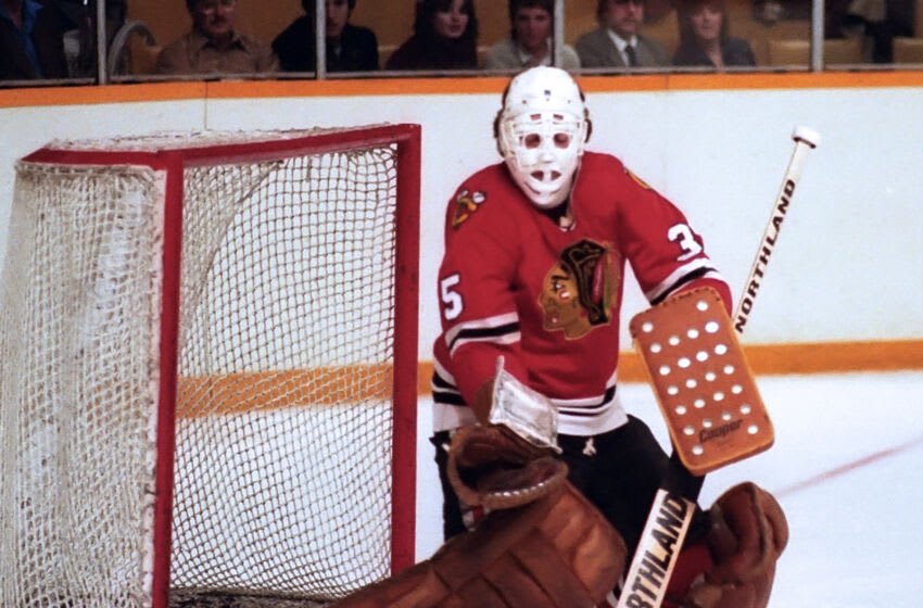 Tony Esposito of the Chicago Blackhawks skates against the Toronto Maple Leafs. (Photo by Graig Abel/Getty Images)