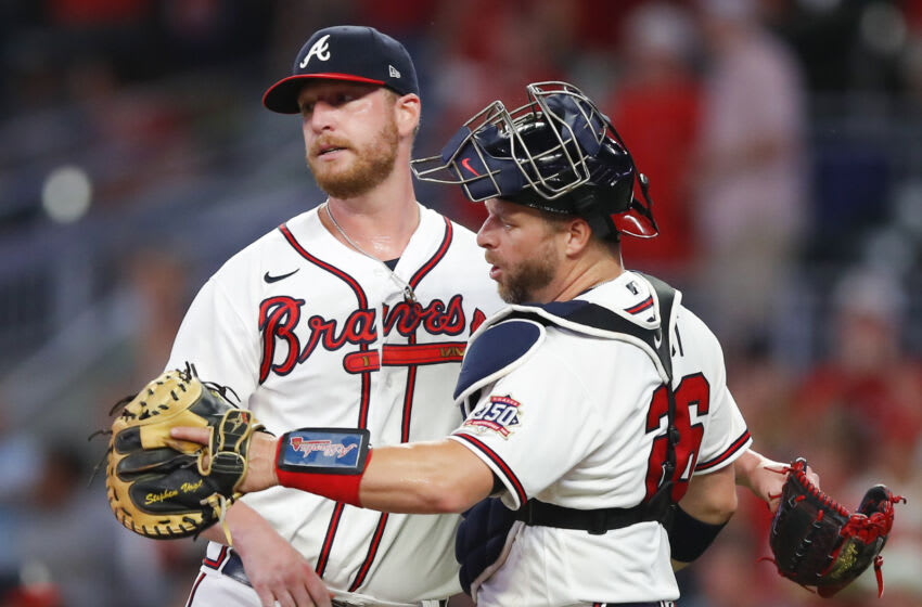Will Smith, Stephen Vogt, Atlanta Braves. (Photo by Todd Kirkland/Getty Images)