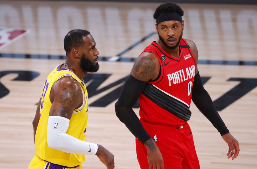 LeBron James, Los Angeles Lakers, Carmelo Anthony, Portland Trail Blazers. (Photo by Kevin C. Cox/Getty Images)