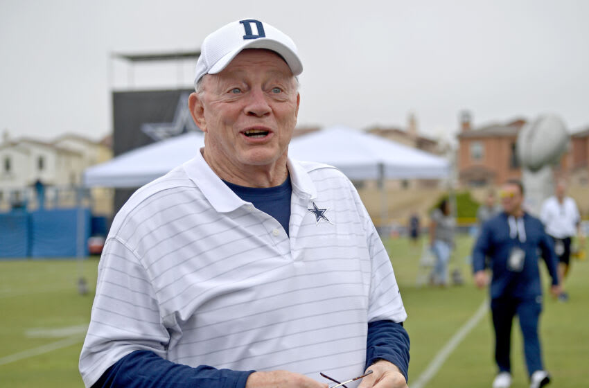 OXNARD, CA - JULY 24: Owner Jerry Jones of the Dallas Cowboys welcomes fans to training camp at River Ridge Complex on July 24, 2021 in Oxnard, California. (Photo by Jayne Kamin-Oncea/Getty Images)