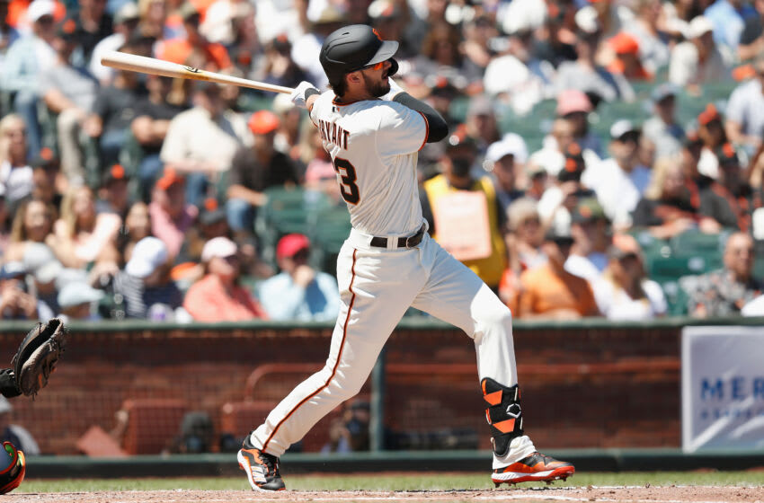 SAN FRANCISCO, CALIFORNIA - AUGUST 01: Kris Bryant #23 of the San Francisco Giants hits a solo home run in the bottom of the third inning against the Houston Astros at Oracle Park on August 01, 2021 in San Francisco, California. (Photo by Lachlan Cunningham/Getty Images)