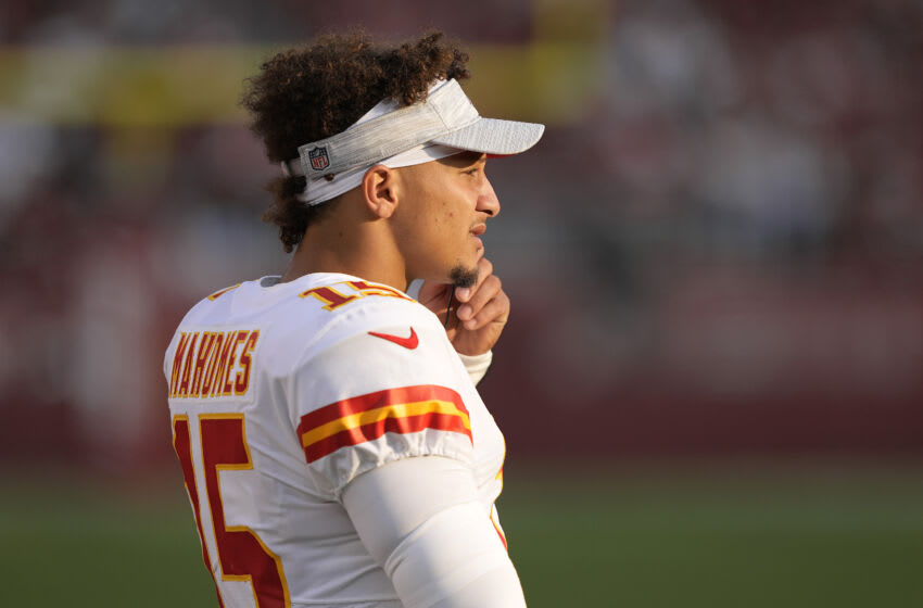 Patrick Mahomes of the Kansas City Chiefs looks on from the sidelines against the San Francisco 49ers. (Photo by Thearon W. Henderson/Getty Images)