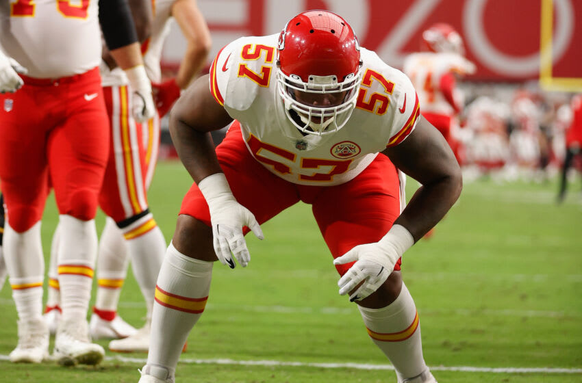 GLENDALE, ARIZONA - AUGUST 20: Offensive tackle Orlando Brown #57 of the Kansas City Chiefs warms up before the NFL preseason game against the Arizona Cardinals at State Farm Stadium on August 20, 2021 in Glendale, Arizona. (Photo by Christian Petersen/Getty Images)