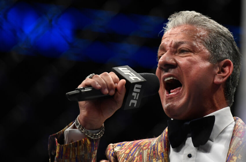 JACKSONVILLE, FL - MAY 09: UFC Octagon announcer Bruce Buffer introduces Justin Gaethje of the United States and Tony Ferguson of the United States prior to their Interim lightweight title fight during UFC 249 at VyStar Veterans Memorial Arena on May 9, 2020 in Jacksonville, Florida. (Photo by Douglas P. DeFelice/Getty Images)