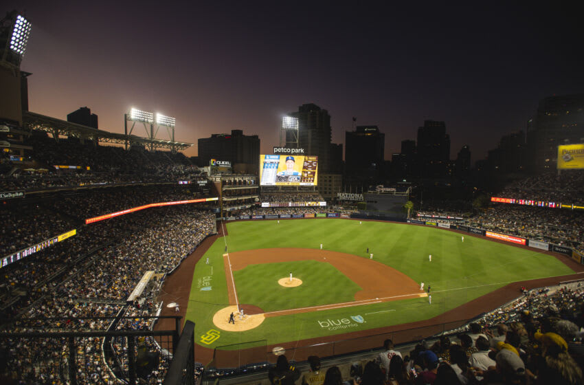 SAN DIEGO, CA - AUGUST 26: General view of the ballpark as the sun sets while the San Diego Padres face against the Los Angeles Dodgers on August 26, 2021 at Petco Park in San Diego, California. (Photo by Matt Thomas/San Diego Padres/Getty Images)