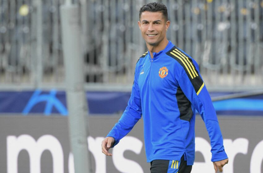 Manchester Uniteds Portugese forward Christiano Ronaldo takes part in a training session on the eve of the UEFA Champions League Group F football match between Young Boys and Manchester United in Bern, on September 13, 2021. (Photo by SEBASTIEN BOZON / AFP) (Photo by SEBASTIEN BOZON/AFP via Getty Images)