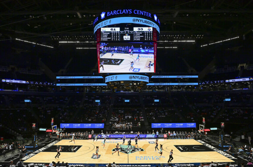 NEW YORK, NEW YORK - JUNE 24: A view of Barclays Center during the game between the New York Liberty and the Chicago Sky on June 24, 2021 in New York City. (Photo by Steven Ryan/Getty Images)