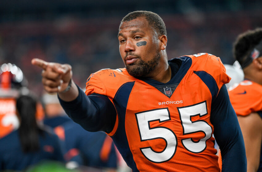 DENVER, COLORADO - AUGUST 28: Bradley Chubb #55 of the Denver Broncos stands in the bench area during an NFL preseason game against the Los Angeles Rams at Empower Field at Mile High on August 28, 2021 in Denver, Colorado. (Photo by Dustin Bradford/Getty Images)