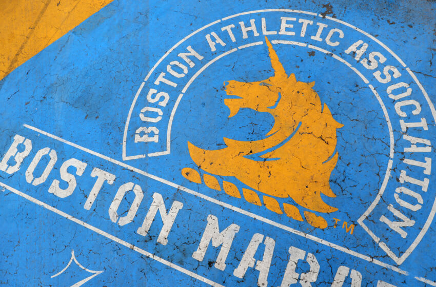 BOSTON, MASSACHUSETTS - APRIL 20: A detail of the Boston Marathon finish line on April 20, 2020 in Boston, Massachusetts. Due to the coronavirus (COVID-19) pandemic, the race was rescheduled to September 14, 2020 instead of being run on April 20, Patriot's Day. (Photo by Maddie Meyer/Getty Images)