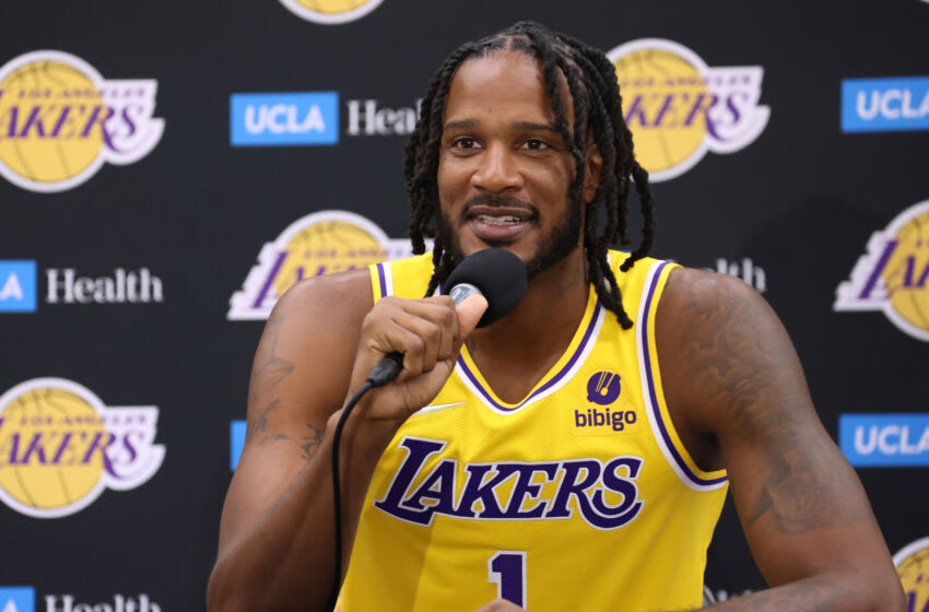EL SEGUNDO, CALIFORNIA - SEPTEMBER 28: Trevor Ariza #1 of the Los Angeles Lakers smiles as he speaks to the media during Los Angeles Lakers media day at UCLA Health Training Center on September 28, 2021 in El Segundo, California. (Photo by Harry How/Getty Images)