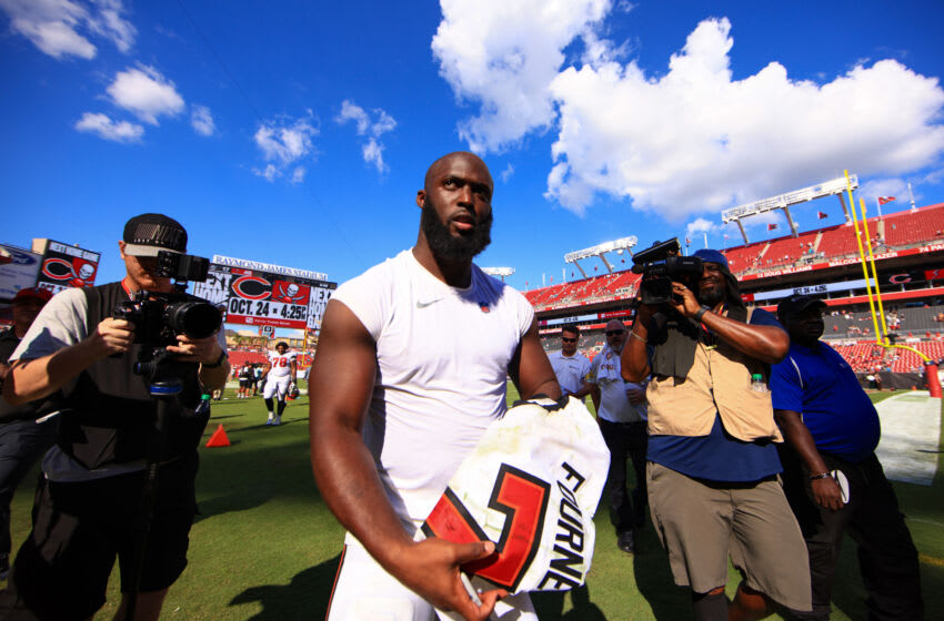 TAMPA, FLORIDA - OCTOBER 10: Leonard Fournette #7 of the Tampa Bay Buccaneers leaves the game after defeating the Miami Dolphins 45-17 at Raymond James Stadium on October 10, 2021 in Tampa, Florida. (Photo by Mike Ehrmann/Getty Images)