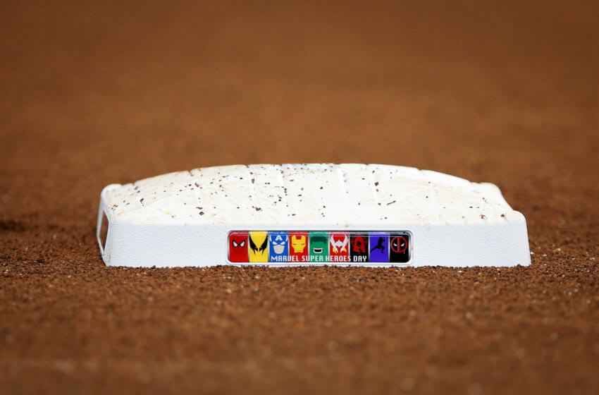 Milwaukee, WI - MAY 03: Detailed view of a base with a Marvel Super Heroes theme prior to the game between the Milwaukee Brewers and the Los Angeles Dodgers at Miller Park on June 3, 2017 in Milwaukee, Wisconsin.  (Photo by Dylan Buell/Getty Images) *** Local Caption ***