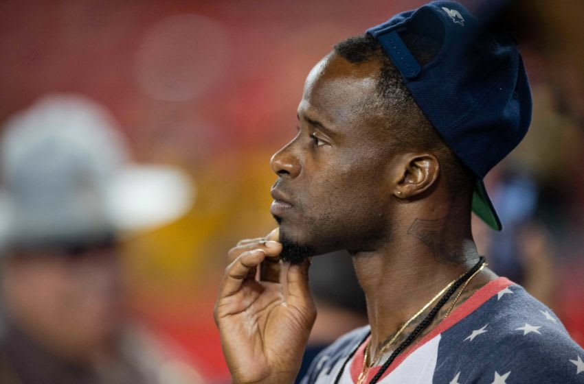 Sep 24, 2018; Tampa, FL, USA; Pittsburgh Steelers former cornerback Ike Taylor looks on from the sideline prior to the game between the Pittsburgh Steelers and Tampa Bay Buccaneers at Raymond James Stadium. Mandatory Credit: Douglas DeFelice-USA TODAY Sports