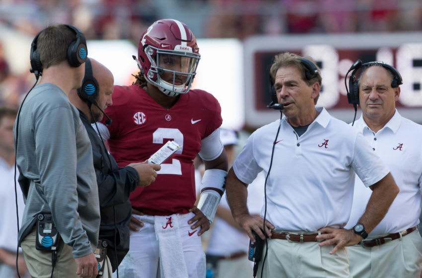 Sep 9, 2017; Tuscaloosa, AL, USA; Alabama Crimson Tide offensive coordinator Brian Daboll (left) quarterback Jalen Hurts (middle) head coach Nick Saban (right) during the game against Fresno State Bulldogs at Bryant-Denny Stadium. Mandatory Credit: Marvin Gentry-USA TODAY Sports