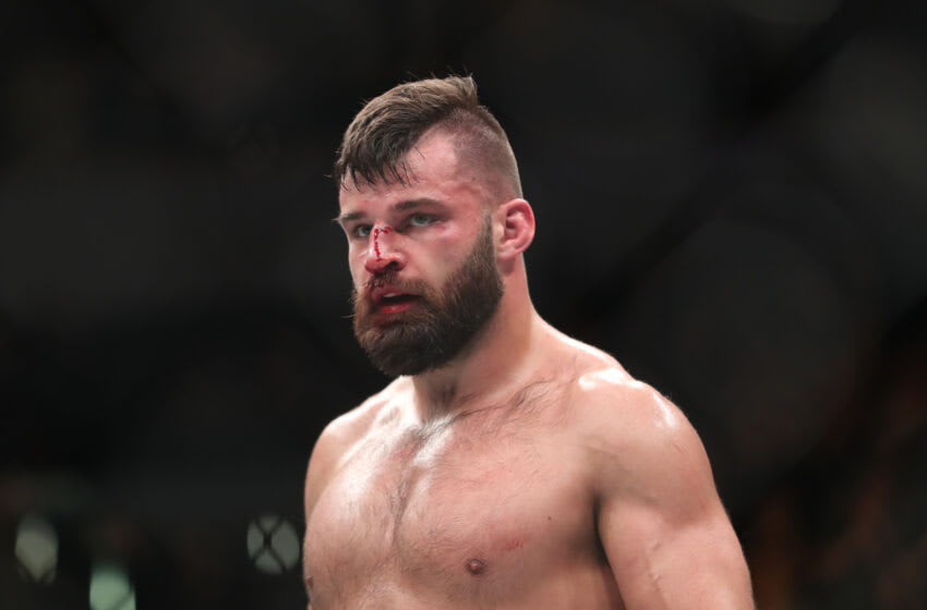 December 16, 2017;  Winnipeg, Manitoba, USA;  Julian Marquez fights Darren Stewart during UFC Fight Night at Bell MTS Place.  Mandatory Credit: Bruce Fedic—USA TODAY SPORTS
