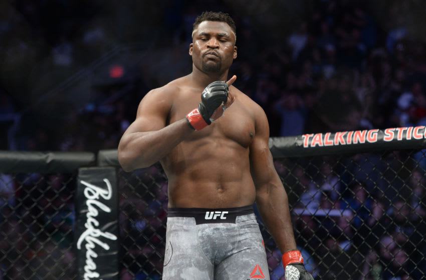 Feb 17, 2019; Phoenix, AZ, USA; Francis Ngannou reacts after defeating Cain Velasquez (not pictured) in their heavyweight bout during UFC Fight Night at Talking Stick Resort Arena. Ngannou won via first round TKO. Mandatory Credit: Joe Camporeale-USA TODAY Sports