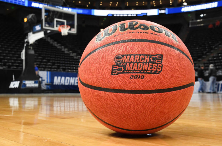 Mar 23, 2019; Salt Lake City, UT, USA; View of a basketball with the March Madness logo before the game between the Baylor Bears and the Gonzaga Bulldogs in the second round of the 2019 NCAA Tournament at Vivint Smart Home Arena. Mandatory Credit: Kirby Lee-USA TODAY Sports
