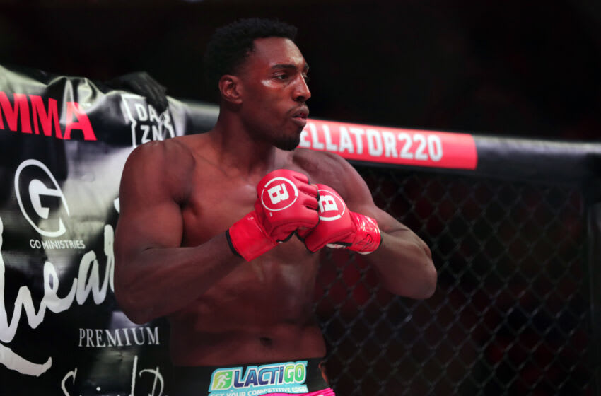 Apr 27, 2019; San Jose, CA, USA; Phil Davis (red gloves) prepares for his bout against Liam McGeary (no t pictured) during Bellator 220 at SAP Center. Mandatory Credit: Dave Mandel-USA TODAY Sports