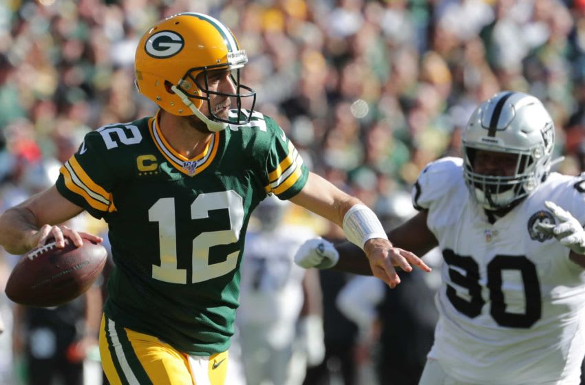 Green Bay Packers quarterback Aaron Rodgers (12) throws downfield during the third quarter of their game Sunday, October 21, 2019 at Lambeau Field in Green Bay, Wis. The Green Bay Packers beat the Oakland Raiders 42-24.MARK HOFFMAN/MILWAUKEE JOURNAL SENTINEL Packers21 21 Hoffman