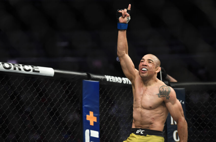 Dec 14, 2019; Las Vegas, NV, USA; (Editors Notes: Caption Correction) Jose Aldo (blue gloves) reacts after his bout against Marlon Moraes (not pictured) during UFC 245 at T-Mobile Arena. Mandatory Credit: Stephen R. Sylvanie-USA TODAY Sports