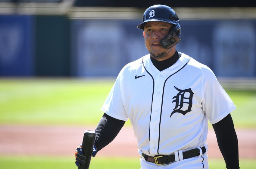 Sep 20, 2020; Detroit, Michigan, USA; Detroit Tigers designated hitter Miguel Cabrera (24) during the first inning against the Cleveland Indians at Comerica Park. Mandatory Credit: Tim Fuller-USA TODAY Sports