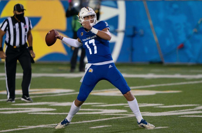 Oct 24, 2020; San Jose, California, USA; San Jose State Spartans quarterback Nick Starkel (17) throws the ball during the third quarter against the Air Force Falcons at CEFCU Stadium. Mandatory Credit: Stan Szeto-USA TODAY Sports