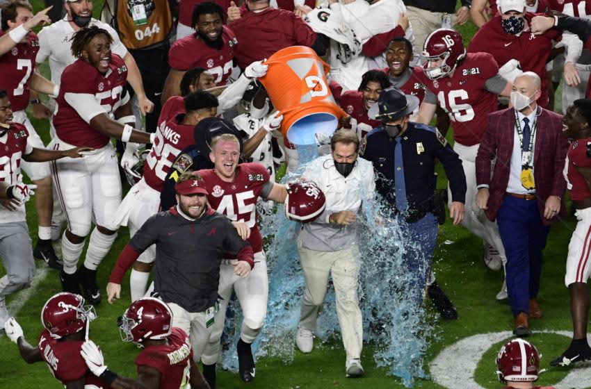 Alabama football winning the College Football Playoff. Mandatory Credit: Douglas DeFelice-USA TODAY Sports