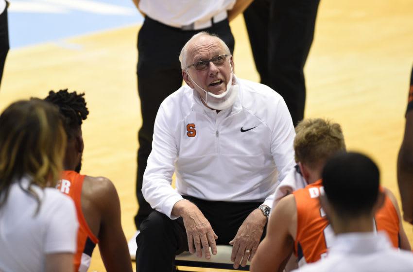 Jan 12, 2021; Chapel Hill, North Carolina, USA; Syracuse Orange head coach Jim Boeheim reacts in the second half at Dean E. Smith Center. Mandatory Credit: Bob Donnan-USA TODAY Sports