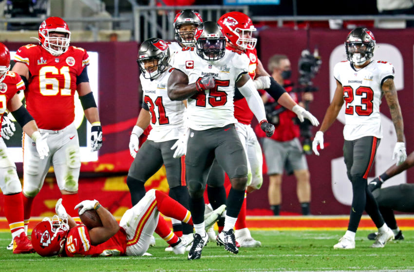 Feb 7, 2021; Tampa, FL, USA; Tampa Bay Buccaneers inside linebacker Devin White (45) reacts during the fourth quarter against the Kansas City Chiefs in Super Bowl LV at Raymond James Stadium. Mandatory Credit: Mark J. Rebilas-USA TODAY Sports