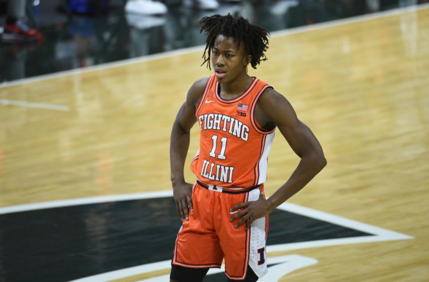 Feb 23, 2021; East Lansing, Michigan, USA; Illinois Fighting Illini guard Ayo Dosunmu (11) during the first half against the Michigan State Spartans at Jack Breslin Student Events Center. Mandatory Credit: Tim Fuller-USA TODAY Sports
