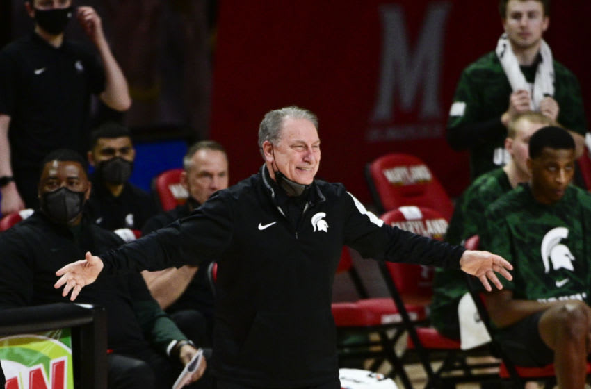 Feb 28, 2021; College Park, Maryland, USA; Michigan State Spartans head coach Tom Izzo reacts during the first half against the Maryland Terrapinsat Xfinity Center. Mandatory Credit: Tommy Gilligan-USA TODAY Sports