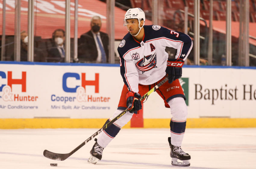 Apr 3, 2021; Sunrise, Florida, USA; Columbus Blue Jackets defenseman Seth Jones (3) controls the puck against the Florida Panthers during the first period at BB&T Center. Mandatory Credit: Sam Navarro-USA TODAY Sports
