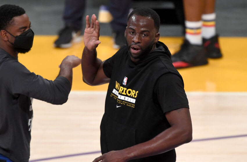 May 19, 2021; Los Angeles, California, USA; Golden State Warriors forward Draymond Green (23) warms up before the NBA play-in game against the Los Angeles Lakers at Staples Center. Mandatory Credit: Jayne Kamin-Oncea-USA TODAY Sports