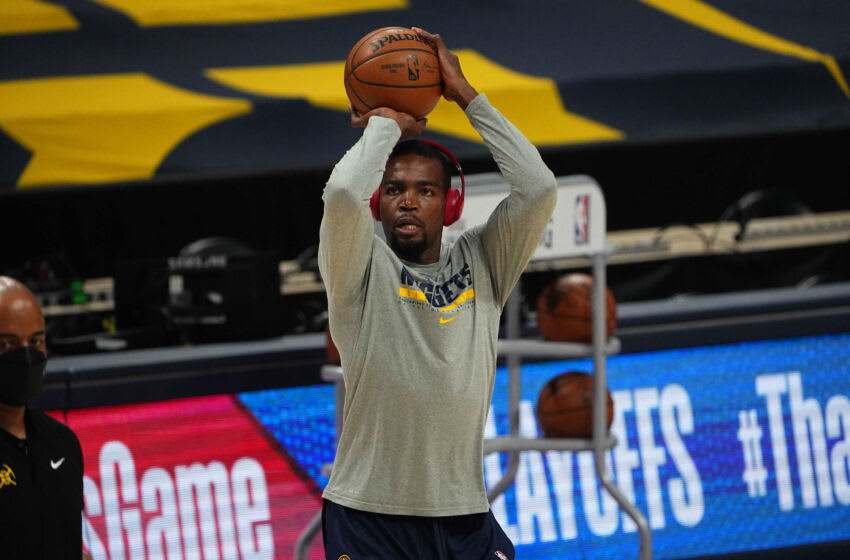 Jun 1, 2021; Denver, Colorado, USA; Denver Nuggets forward Paul Millsap (4). Warms up before the game five against the Portland Trail Blazers in the first round of the 2021 NBA Playoffs. at Ball Arena. Mandatory Credit: Ron Chenoy-USA TODAY Sports