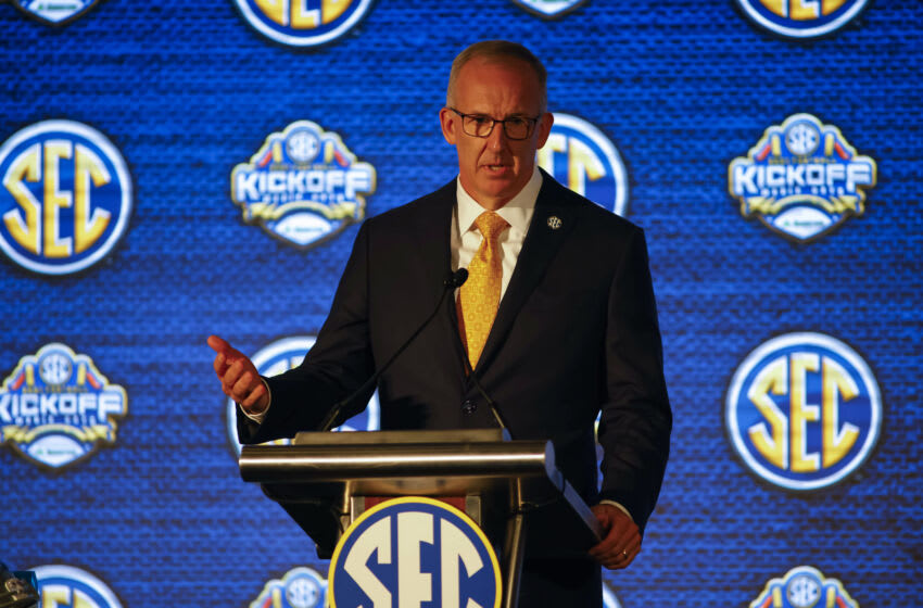 Jul 19, 2021; Hoover, Alabama, USA; SEC commissioner Greg Sankey speaks to the media during SEC Media Days at Hyatt Regency Birmingham. Mandatory Credit: Vasha Hunt-USA TODAY Sports