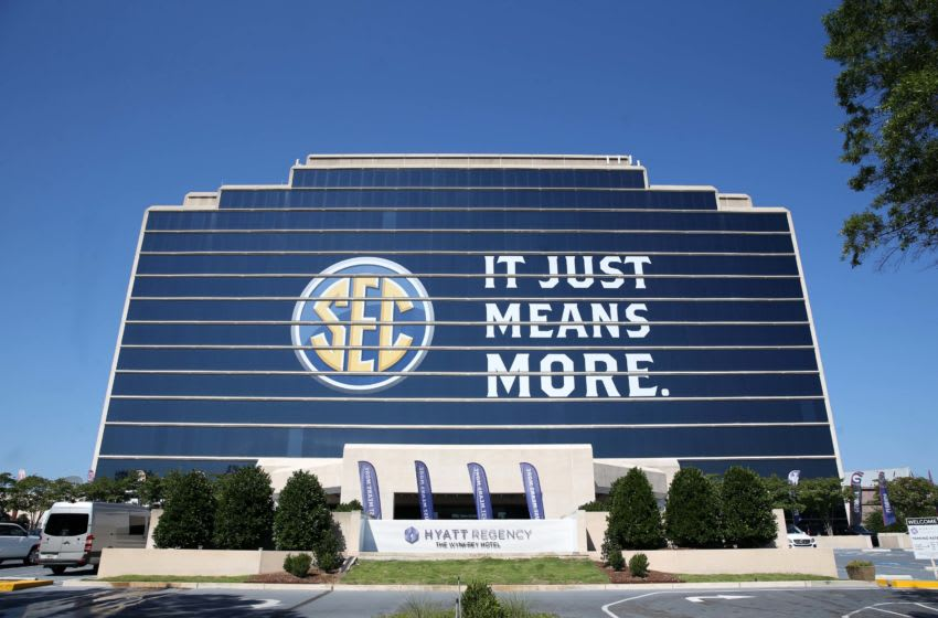 Jul 10, 2017; Hoover, AL, USA; The Southeastern Conference logo is shown on the Hyatt Regency Birmingham-The Winfrey Hotel during SEC media days at Hyatt Regency Birmingham-The Winfrey Hotel. Mandatory Credit: Jason Getz-USA TODAY Sports