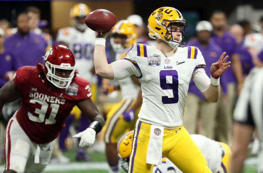 LSU Tigers quarterback Joe Burrow (9) attempts a pass during the second half of the 2019 Peach Bowl college football playoff semifinal game against the Oklahoma Sooners at Mercedes-Benz Stadium. Mandatory Credit: Jason Getz-USA TODAY Sports
