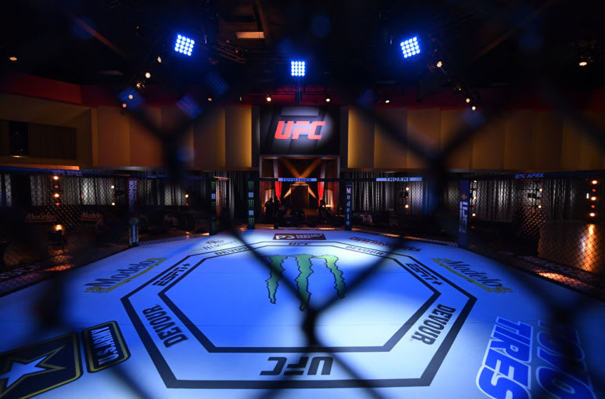 June 6, 2020; Las Vegas, NV, USA; A general view of the octagon prior to UFC 250 at the UFC APEX. Mandatory Credit: Jeff Bottari/Zuffa LLC via USA TODAY Sports